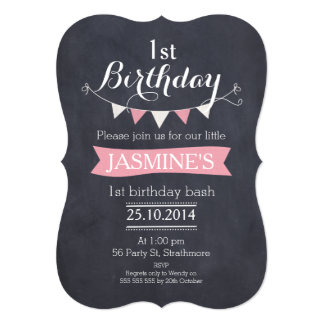 Bracket Chalkboard Bunting Birthday Invitation
