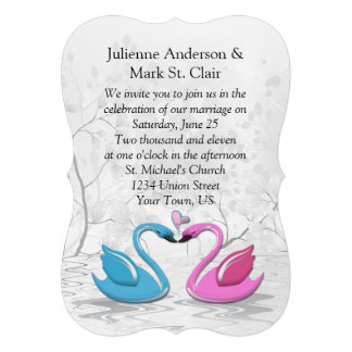 Bracket Edge Pink Blue Kissing Swans Wedding Custom Invites