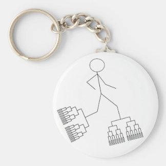 Bracket Man Basic Round Button Key Ring