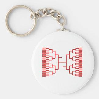 bracketology red basic round button key ring