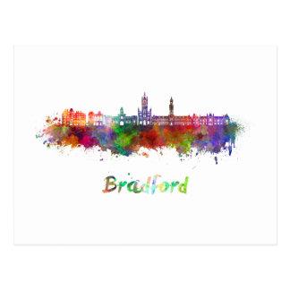 Bradford skyline in watercolor postcard