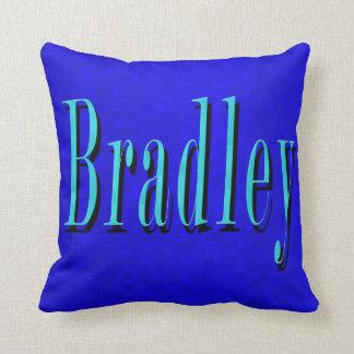 Bradley, Name Logo On Hot Blue Mosaic, Cushion