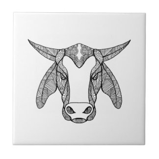 Brahma Bull Head Mandala Ceramic Tile