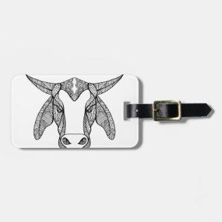 Brahma Bull Head Mandala Luggage Tag