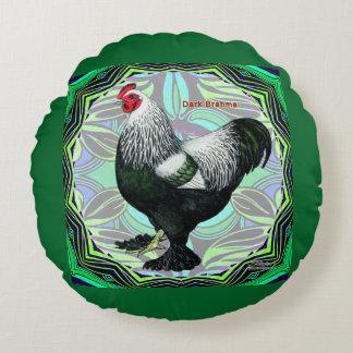 Brahma:  Fancy Dark Rooster Round Cushion