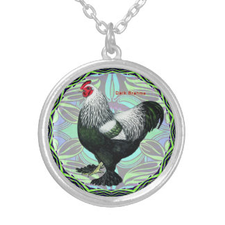 Brahma:  Fancy Dark Rooster Silver Plated Necklace