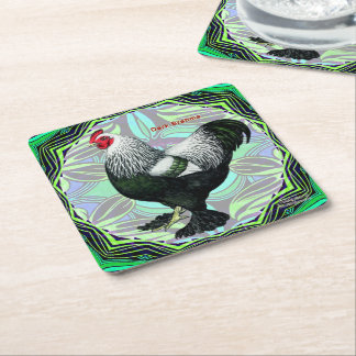 Brahma:  Fancy Dark Rooster Square Paper Coaster