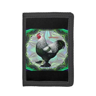 Brahma:  Fancy Dark Rooster Tri-fold Wallet