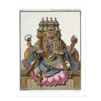 Brahma, Hindu god of creation, from 'Voyage aux In Postcard