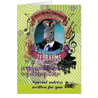 Brahms Parody Zebrahms Animal Composer Zebra Card