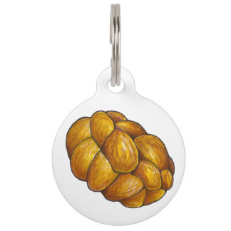 Braided Challah Bread Loaf Jewish Holidays Pet Tag