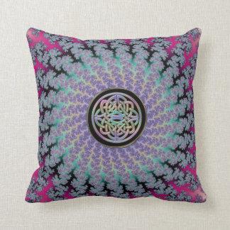 Braided Fractal Rug with Rainbow Celtic Knot Cushion