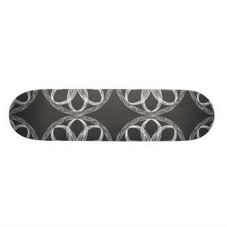 Braided Guilloche Patterns Grey White 18.1 Cm Old School Skateboard Deck
