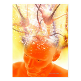 Brain activity, conceptual computer artwork. postcard