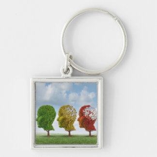 Brain Aging Silver-Colored Square Key Ring