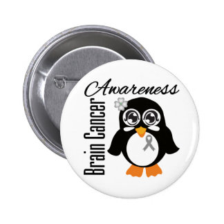 Brain Cancer Awareness Penguin 6 Cm Round Badge