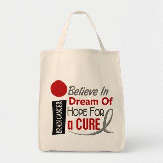 Brain Cancer BELIEVE DREAM HOPE Grocery Tote Bag