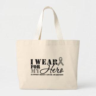 Brain Cancer Hero Grey Ribbon Canvas Bags