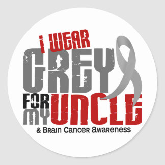 Brain Cancer I Wear Grey For My Uncle 6.2 Round Sticker