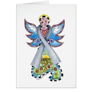 Brain Cancer Ribbon Angel Card