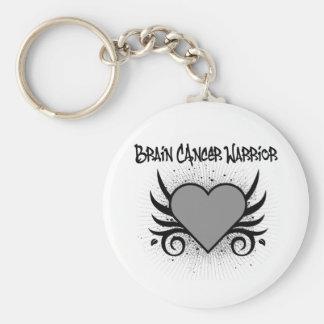 Brain Cancer Warrior Heart Basic Round Button Key Ring