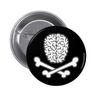 Brain & Crossbones 6 Cm Round Badge