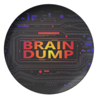 Brain dump concept. plate