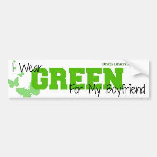 Brain Injury Awareness - I Wear Green My Boyfriend Bumper Sticker
