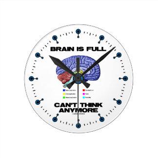 Brain Is Full Can't Think Anymore (Brain Anatomy) Round Clock