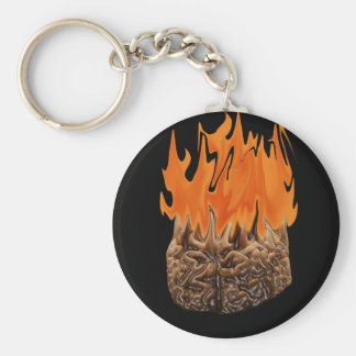 brain on fire basic round button key ring
