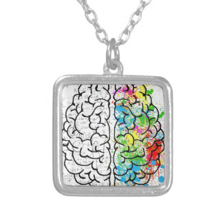 brain series silver plated necklace