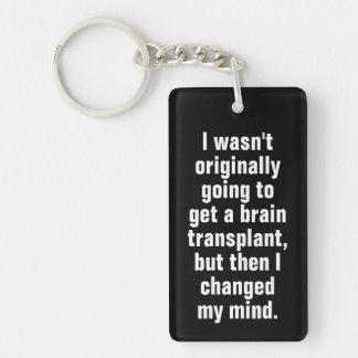 Brain Transplant Pun Black Key Ring