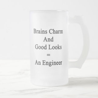 Brains Charm And Good Looks Equals An Engineer Frosted Glass Mug