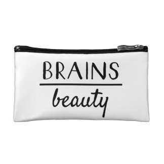 Brains over beauty Black and White Cosmetic Bag