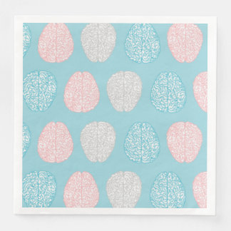 Brainy Pastel Pattern (Awesome Pastel Brains) Disposable Serviettes