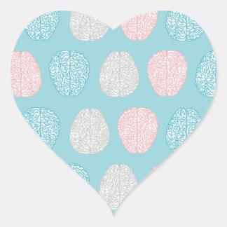 Brainy Pastel Pattern (Awesome Pastel Brains) Heart Sticker