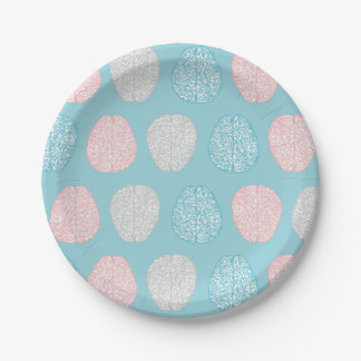 Brainy Pastel Pattern (Awesome Pastel Brains) Paper Plate