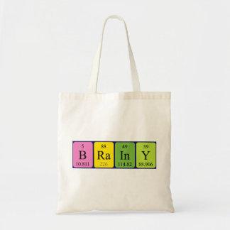 Brainy periodic table name tote bag
