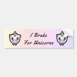 Brake For Unicorns Pastel Polka Dot Bumper Sticker