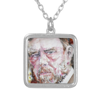BRAM STOKER - watercolor portrait Silver Plated Necklace