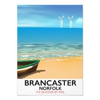Brancaster Norfolk Railway Beach travel poster Photo Print