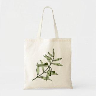 Branch of olive olive twig budget tote bag