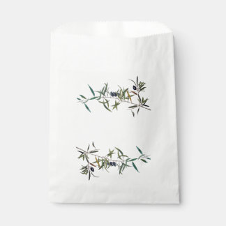 Branch of olive tree in watercolor favour bag