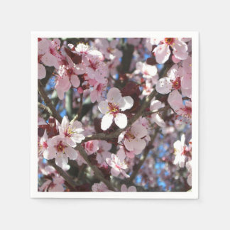 Branch of Pink Blossoms Spring Flowering Tree Disposable Serviette