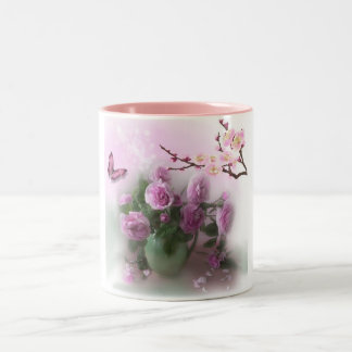 branch of roses and butterfly mug