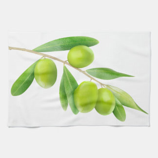 Branch with green olives tea towel