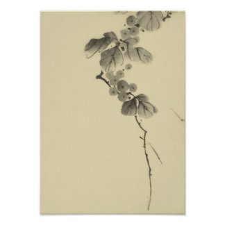 Branch with Leaves & Berries Hokusai Fine Art Poster