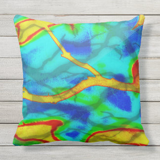 Branches in Bold Colour Outdoor Pillow