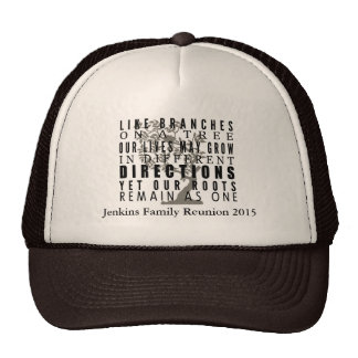 Branches on a Tree Family Reunion Quote Mesh Hats