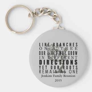 Branches on a Tree Family Reunion Quote Basic Round Button Key Ring